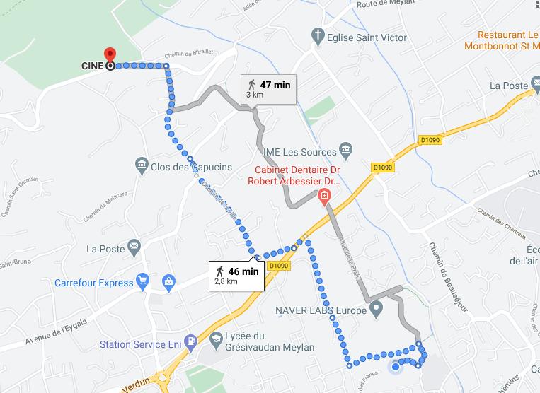 itinéraire pour se rendre au domaine de Rochasson, en partant de parc des étangs