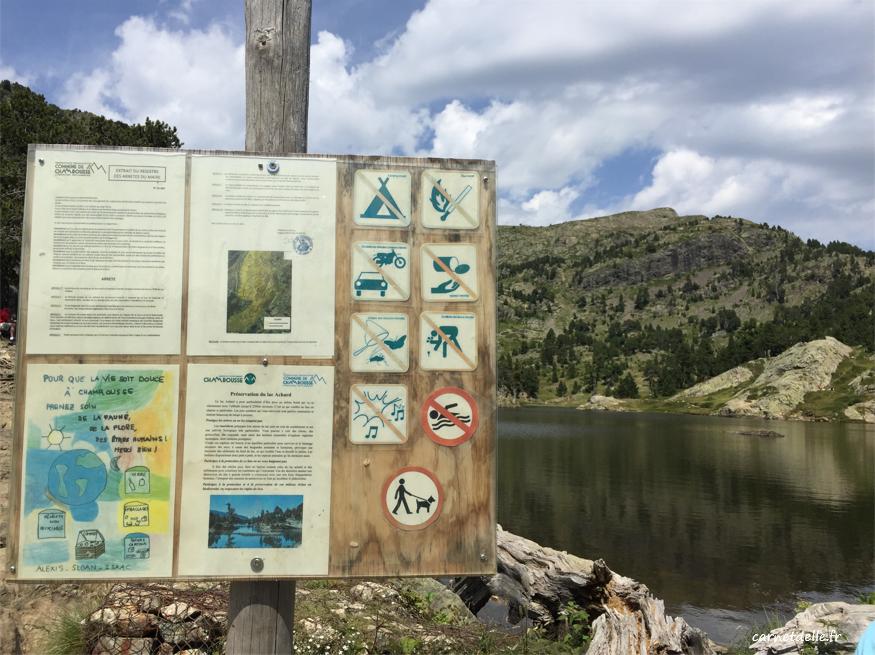 Règlement à respecter, lac achard